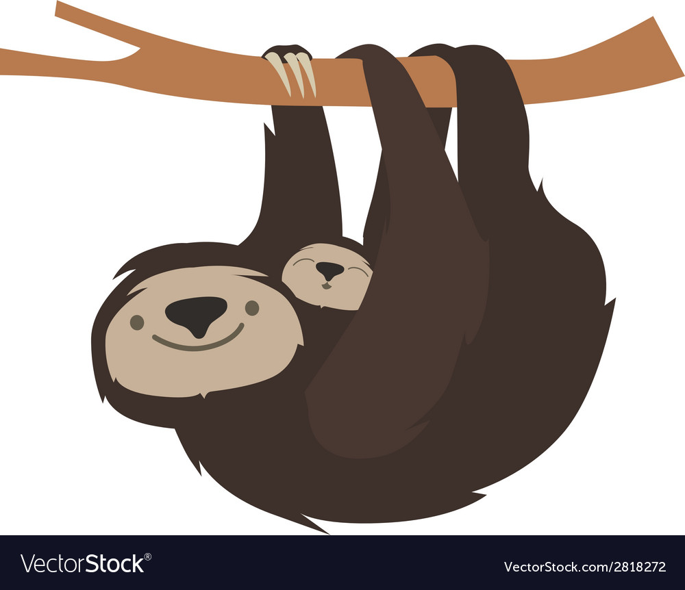 Cute sloth family vector | Price: 1 Credit (USD $1)