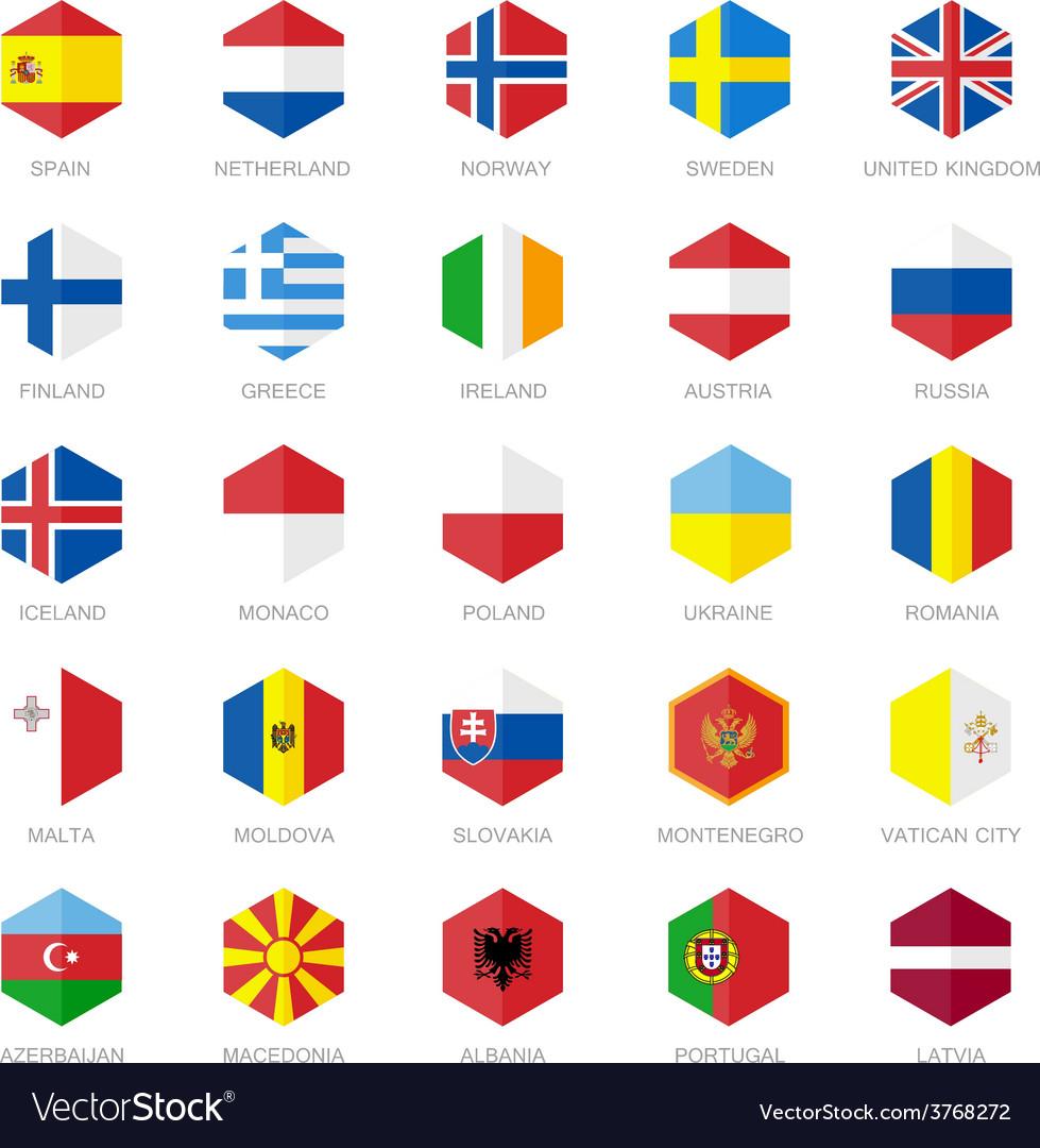 Europe flag icons hexagon flat design vector