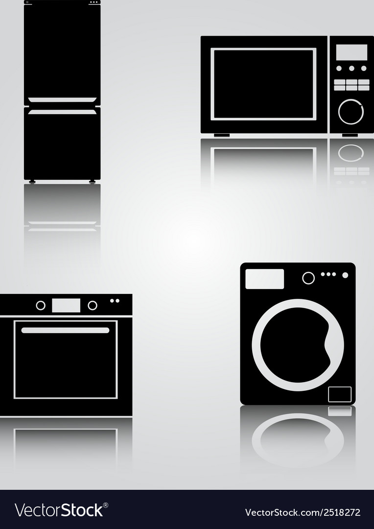 Fridge and microwave and oven and washing machine vector | Price: 1 Credit (USD $1)