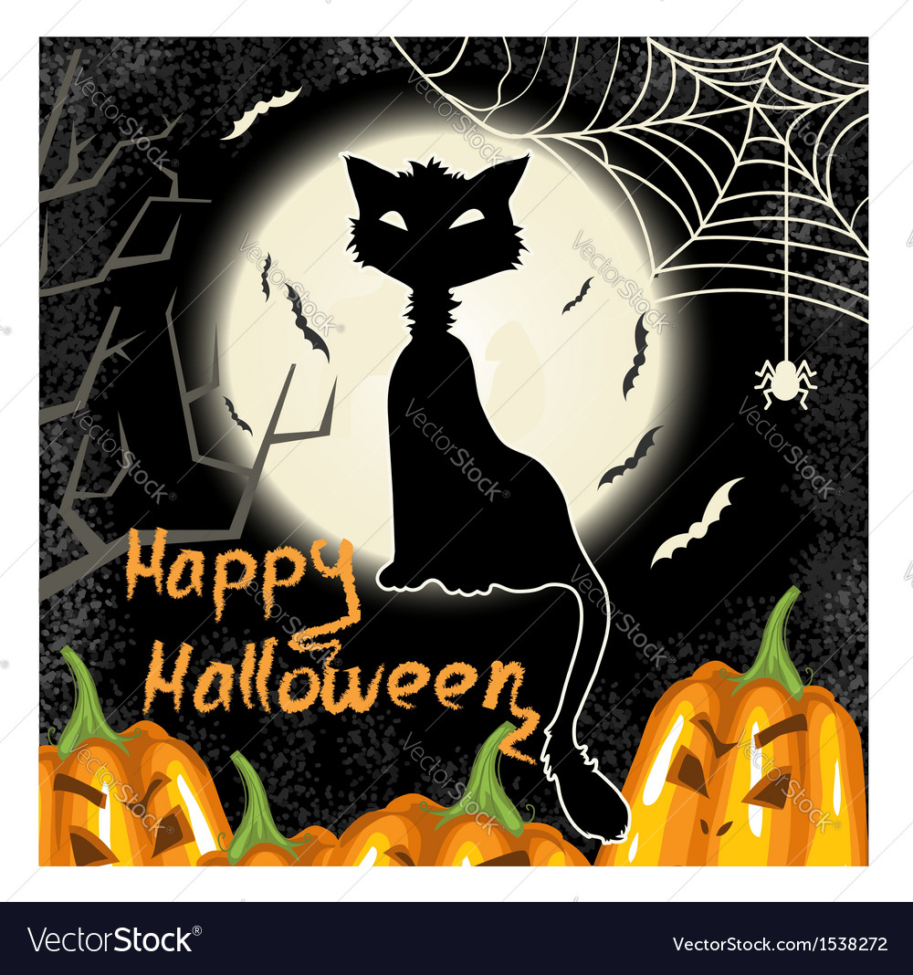 Halloween background with pumpkins moon and cat vector | Price: 3 Credit (USD $3)