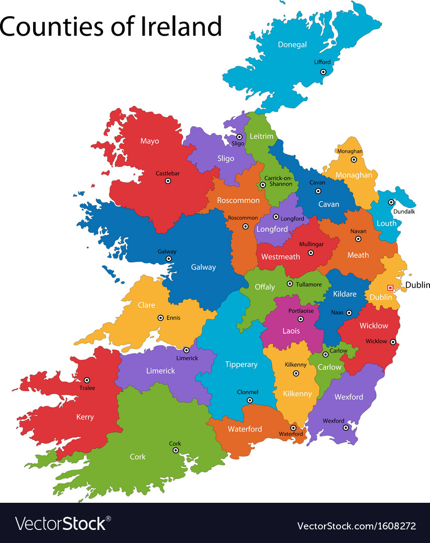 Ireland map vector | Price: 1 Credit (USD $1)