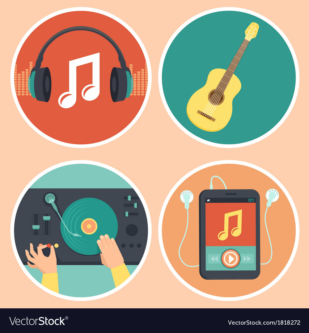 Music icons and signs in flat style vector | Price: 1 Credit (USD $1)