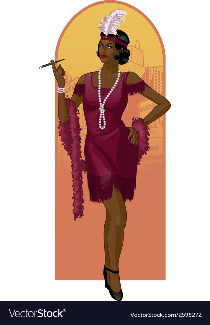 Retro character attractive afroamerican starlet vector | Price: 3 Credit (USD $3)