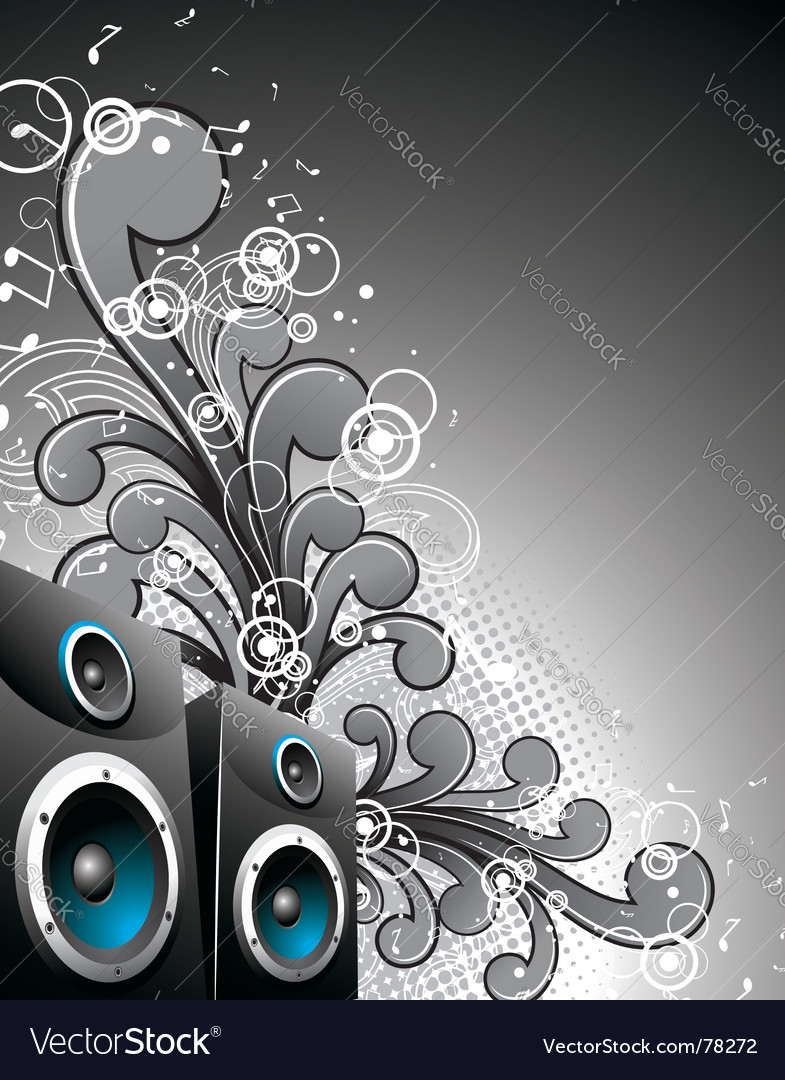 Speaker box with floral elements vector | Price: 1 Credit (USD $1)