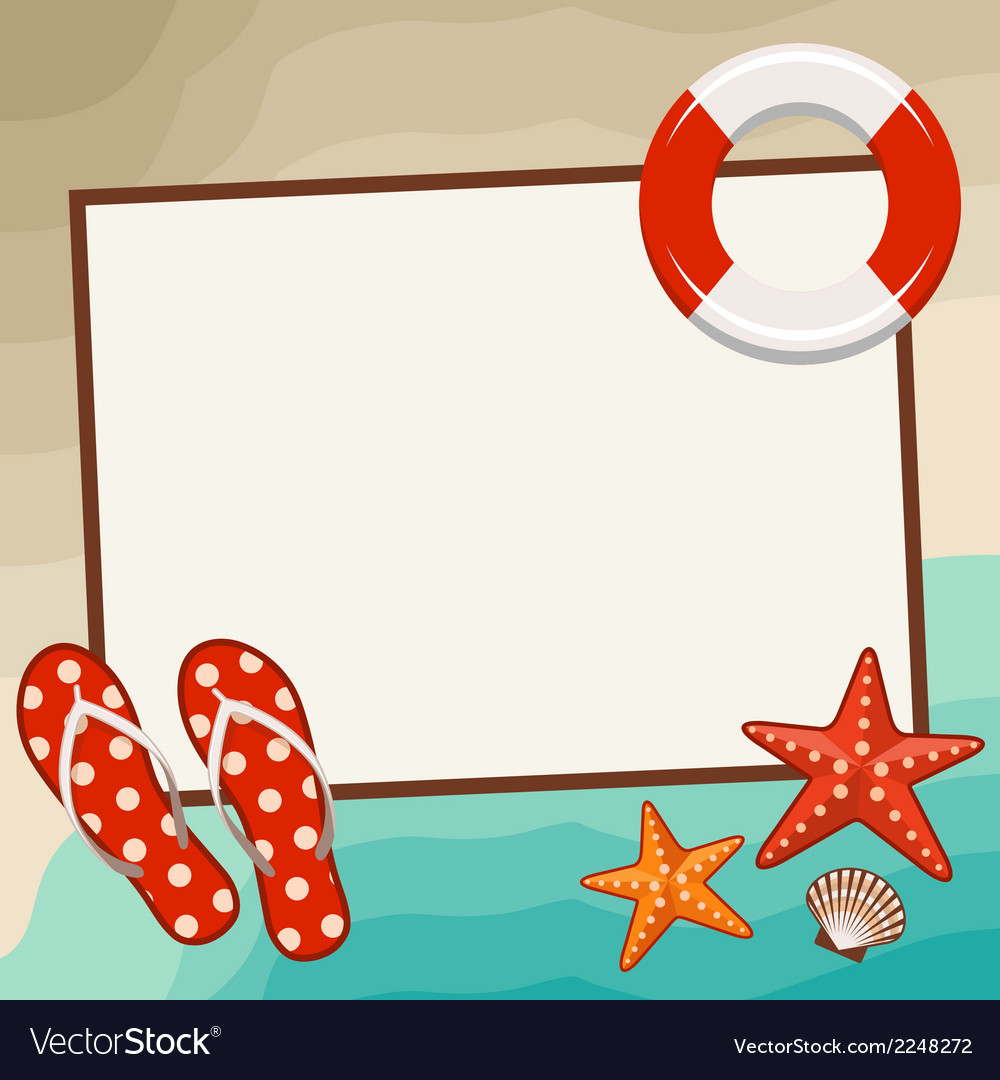 Summer frame with beach symbols vector | Price: 1 Credit (USD $1)