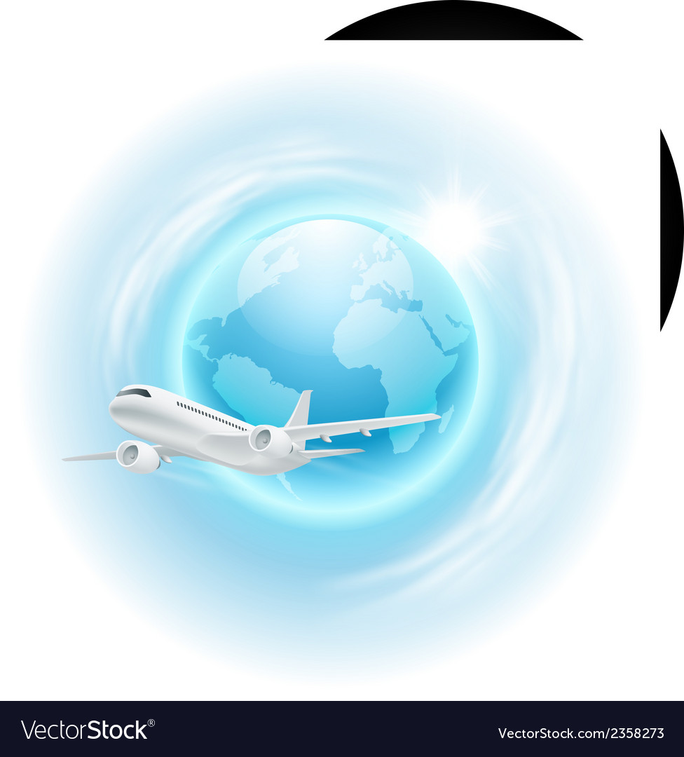 Airplane in the sky with sun vector | Price: 1 Credit (USD $1)