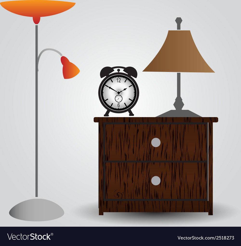 Bedroom bedside table and alarm clock eps10 vector | Price: 1 Credit (USD $1)