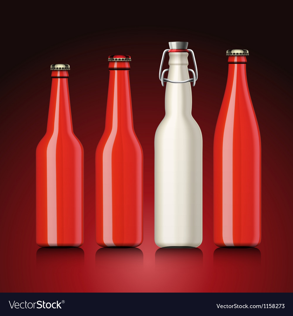 Beer bottle set with no label vector | Price: 1 Credit (USD $1)