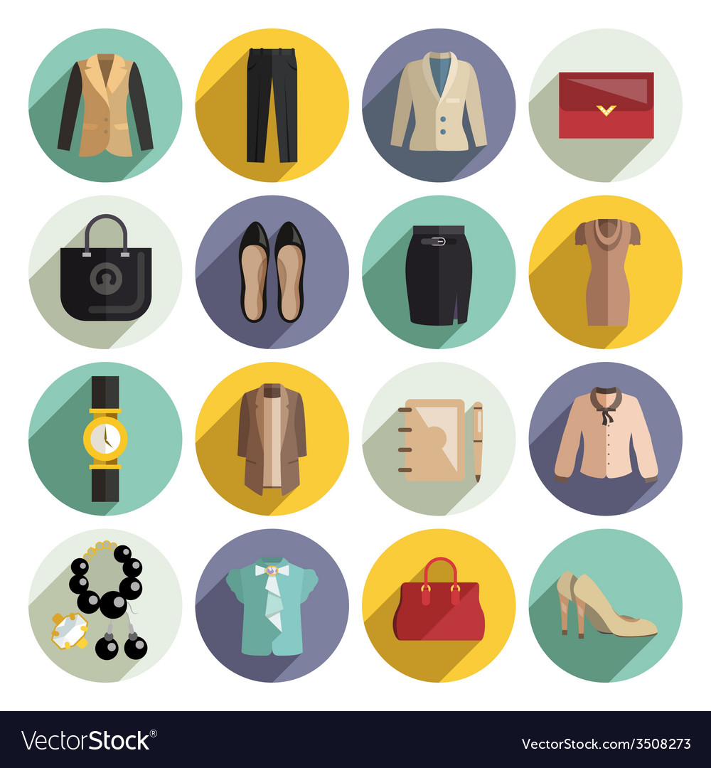 Business woman clothes icons set vector | Price: 1 Credit (USD $1)