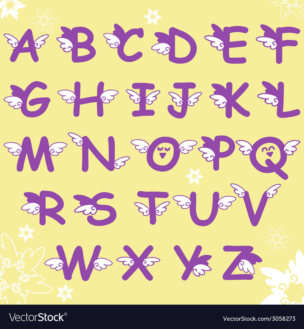 Cartoon comic doodle font alphabet with wings vector | Price: 1 Credit (USD $1)