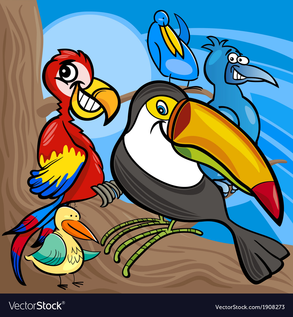 Cute birds group cartoon vector | Price: 3 Credit (USD $3)