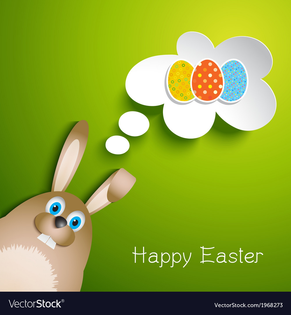 Cute easter background with rabbit vector | Price: 1 Credit (USD $1)