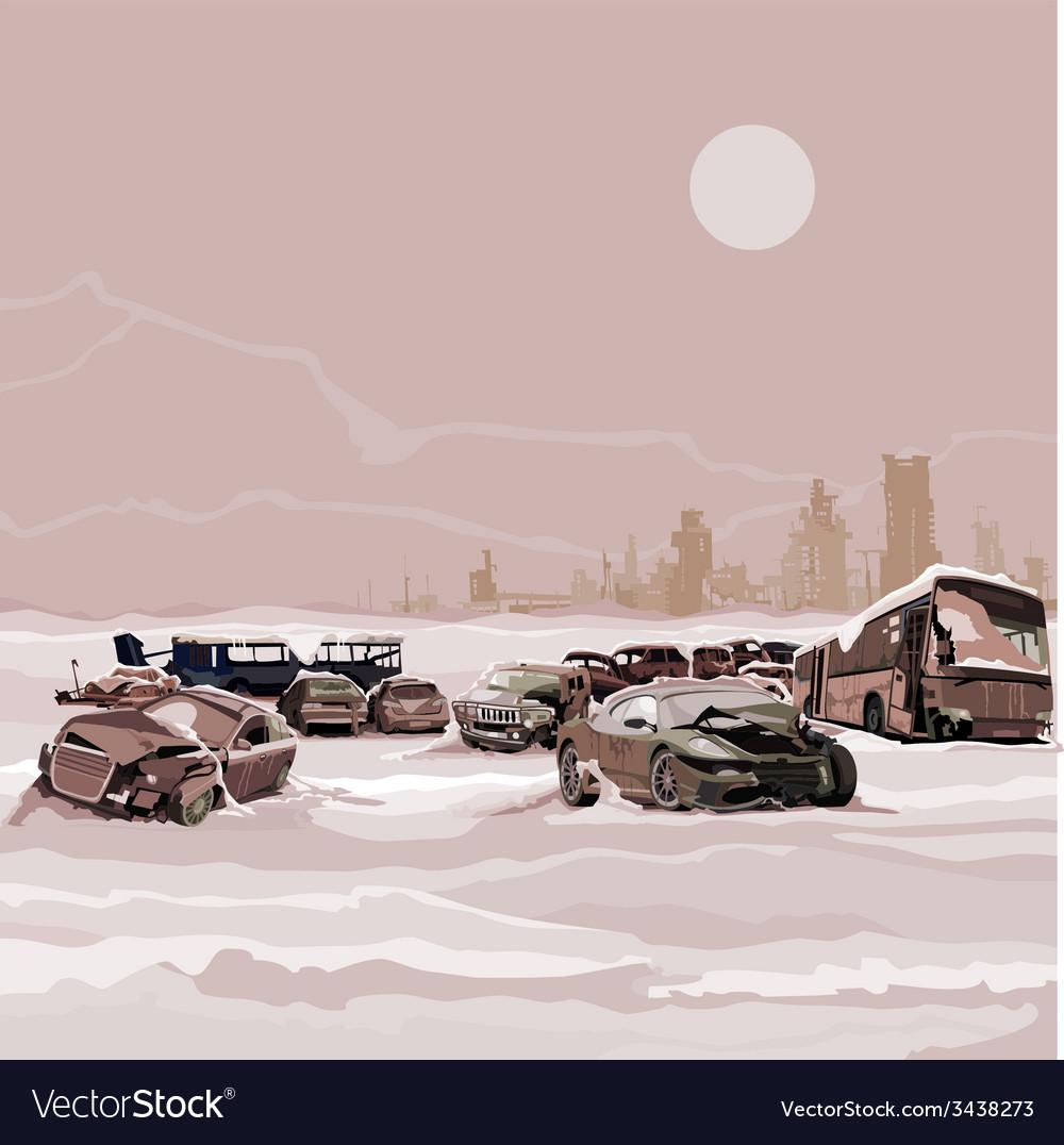 Dump wrecked cars nuclear winter postapokalipsisa vector | Price: 3 Credit (USD $3)