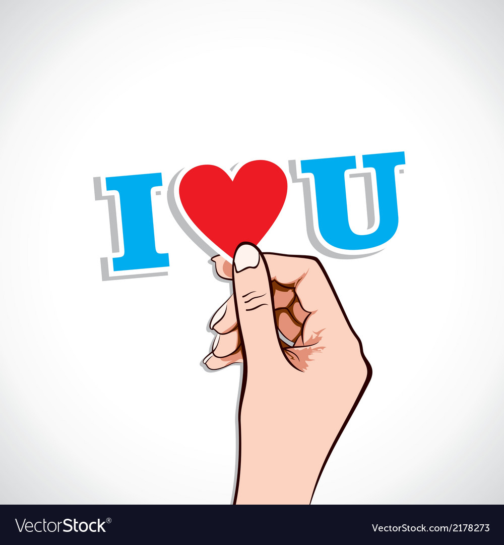 I love you word in hand vector | Price: 1 Credit (USD $1)