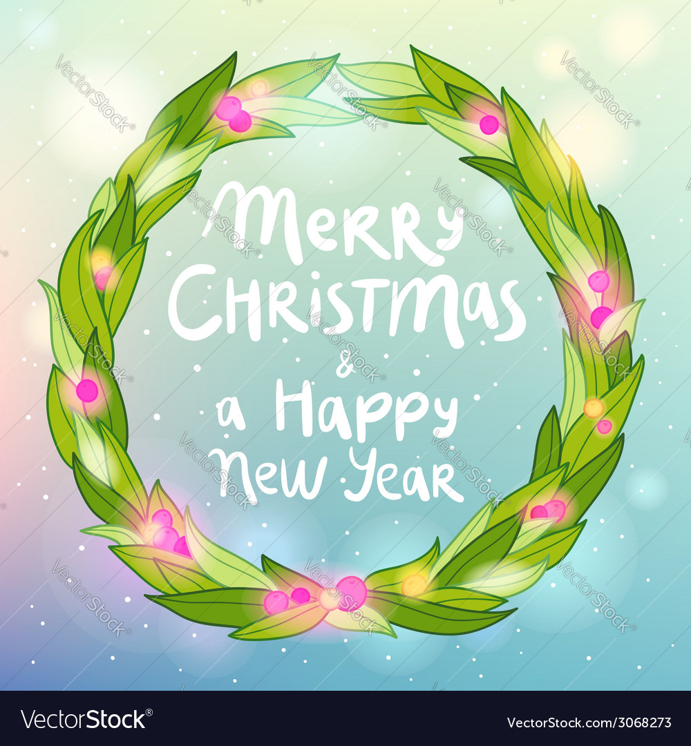 Merry christmas and happy new year wreath greeting vector | Price: 1 Credit (USD $1)