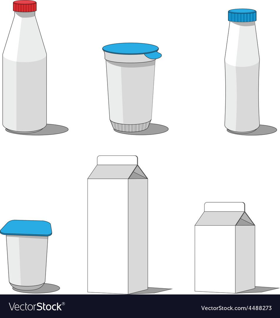 Milk packaging set 001 vector | Price: 1 Credit (USD $1)