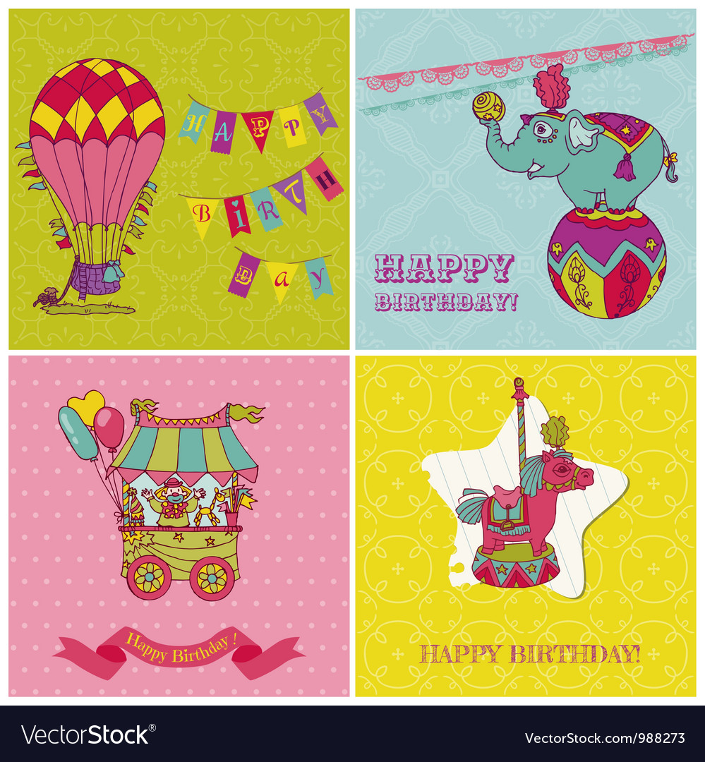 Set of birthday greeting cards for kids vector | Price: 3 Credit (USD $3)