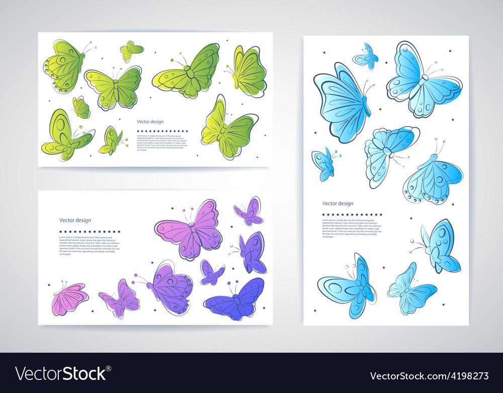 Set of butterfly business cards vector | Price: 1 Credit (USD $1)