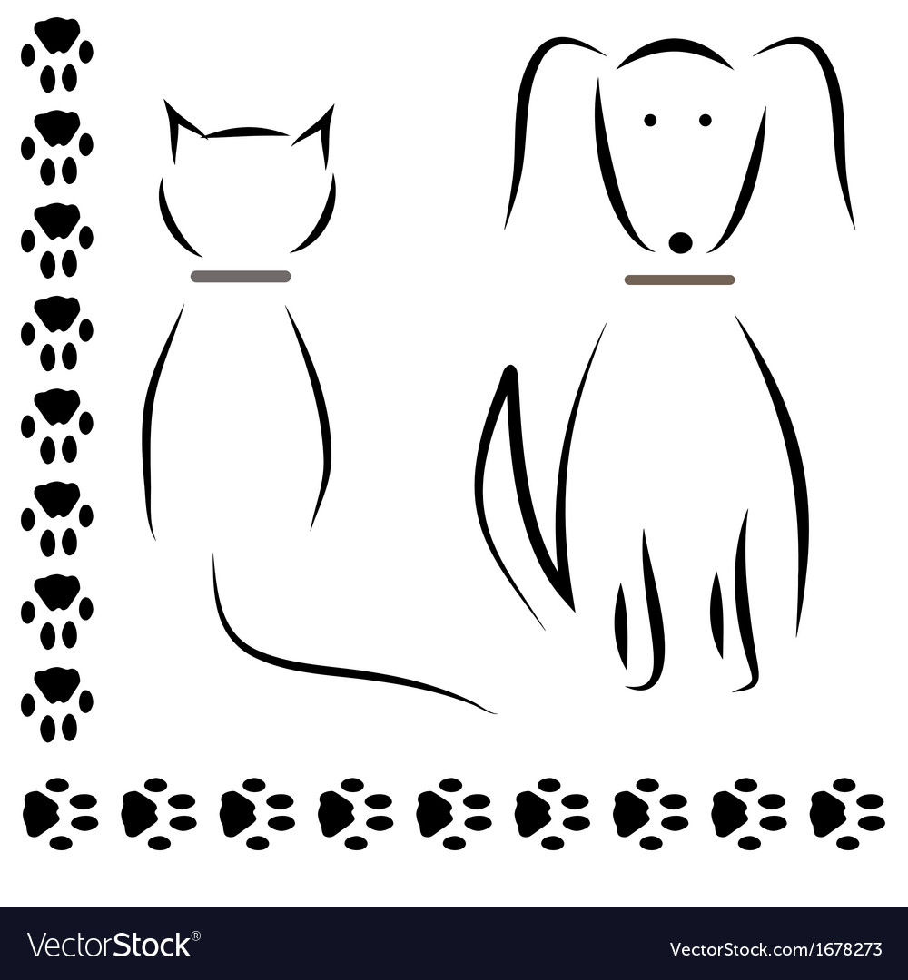 Silhouette cat dog footprints vector | Price: 1 Credit (USD $1)
