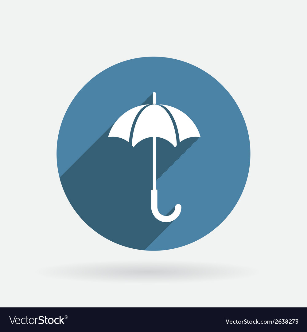Umbrella circle blue icon with shadow vector | Price: 1 Credit (USD $1)