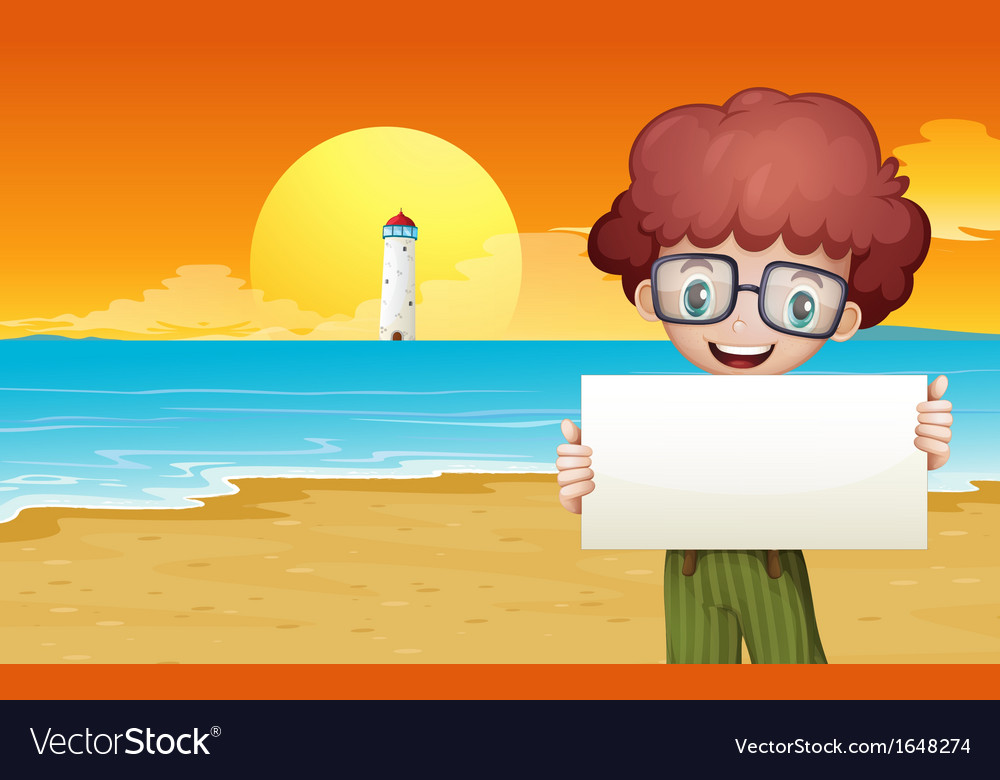 A boy at the beach holding an empty signage vector | Price: 1 Credit (USD $1)