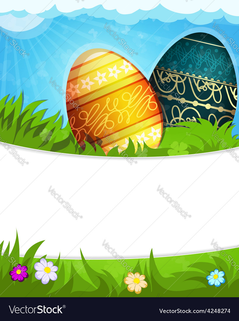 Colorful painted easter eggs in grass vector | Price: 3 Credit (USD $3)