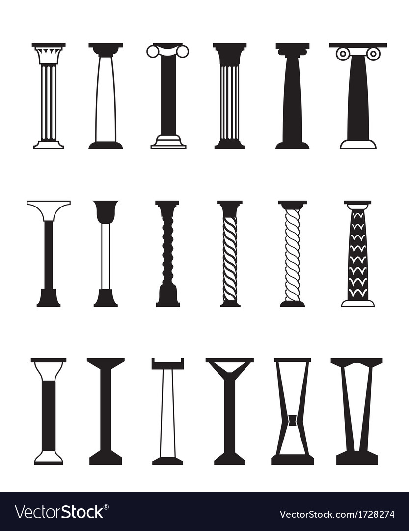 Different types of columns vector | Price: 1 Credit (USD $1)