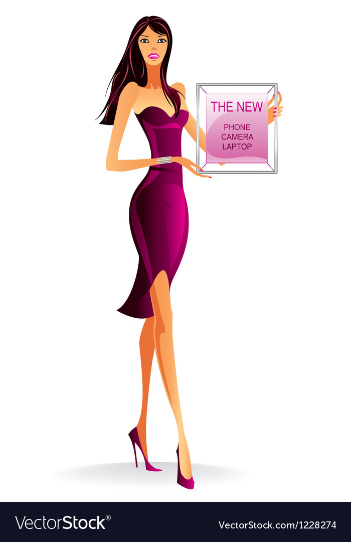 Fashion model with advertising poster vector | Price: 3 Credit (USD $3)