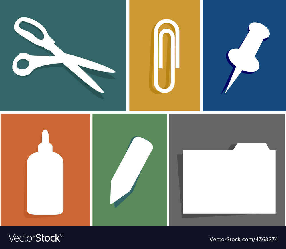 Flat office supply icon set vector