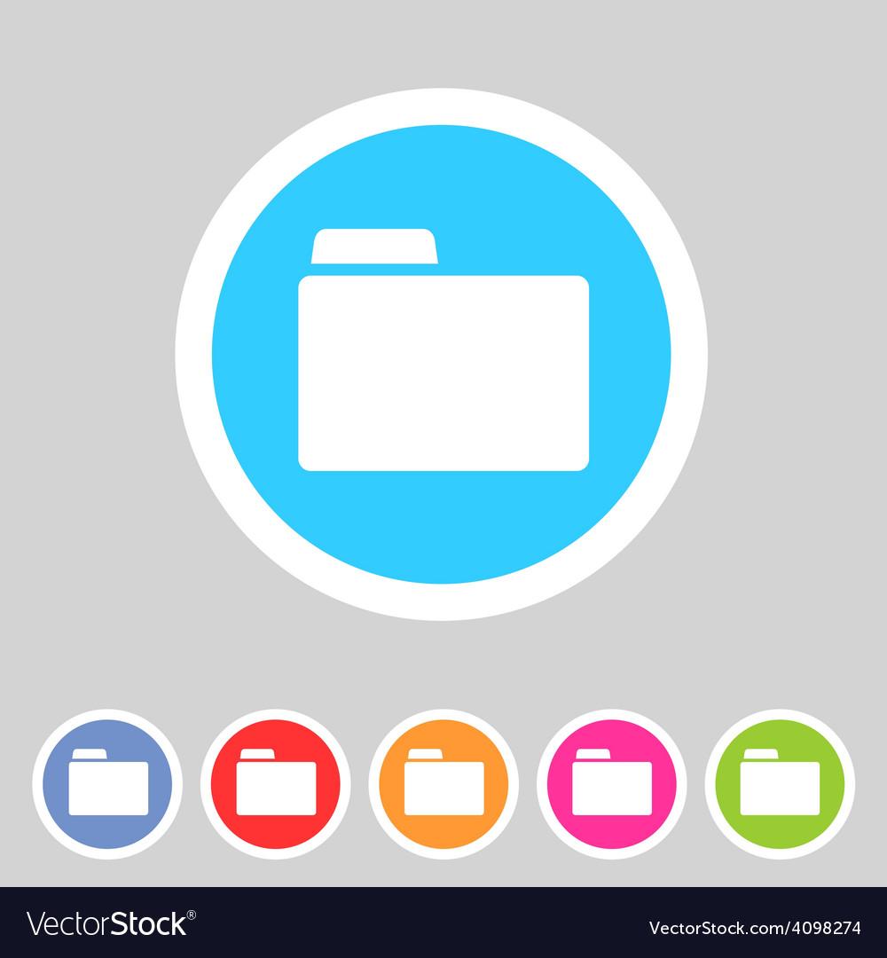 Folder attachment badge flat icon sign set symbol vector | Price: 1 Credit (USD $1)