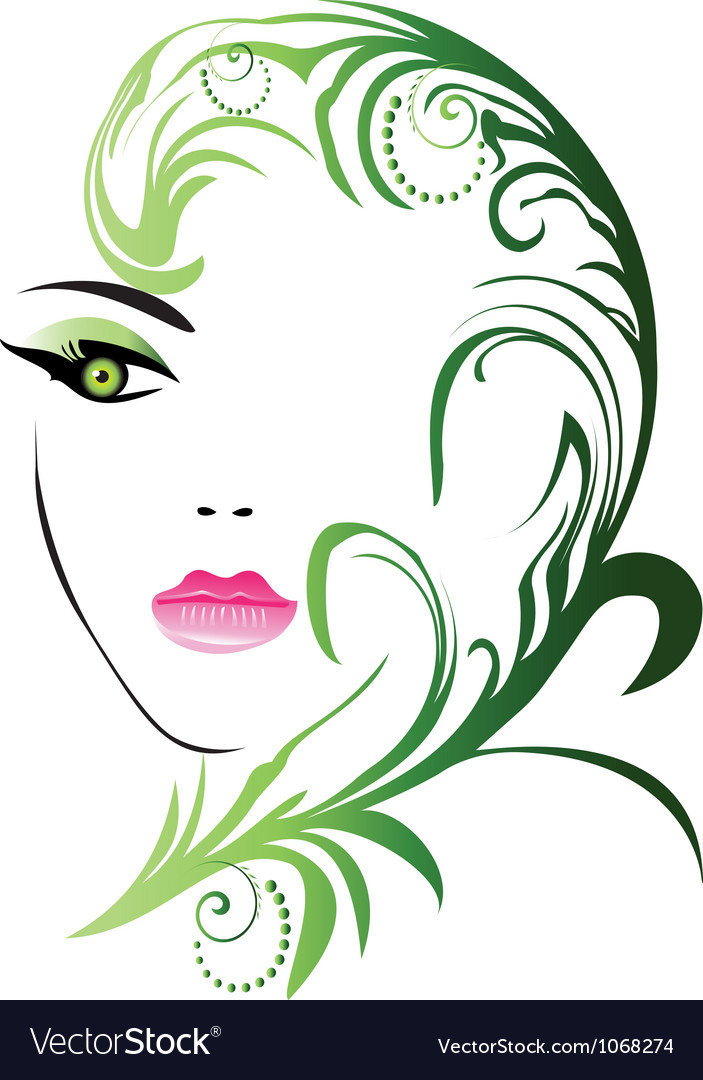 Girl face with swirly leaf vector | Price: 1 Credit (USD $1)