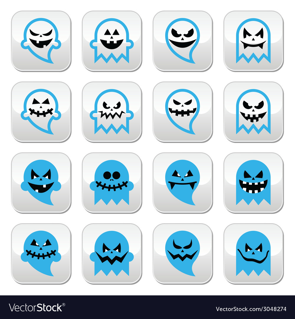 Halloween scary ghost spirit buttons set vector | Price: 1 Credit (USD $1)