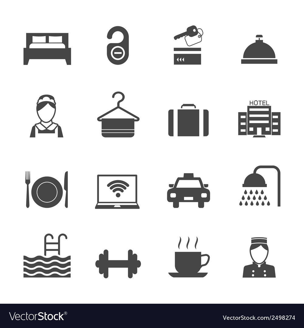 Hotel icons black vector | Price: 1 Credit (USD $1)