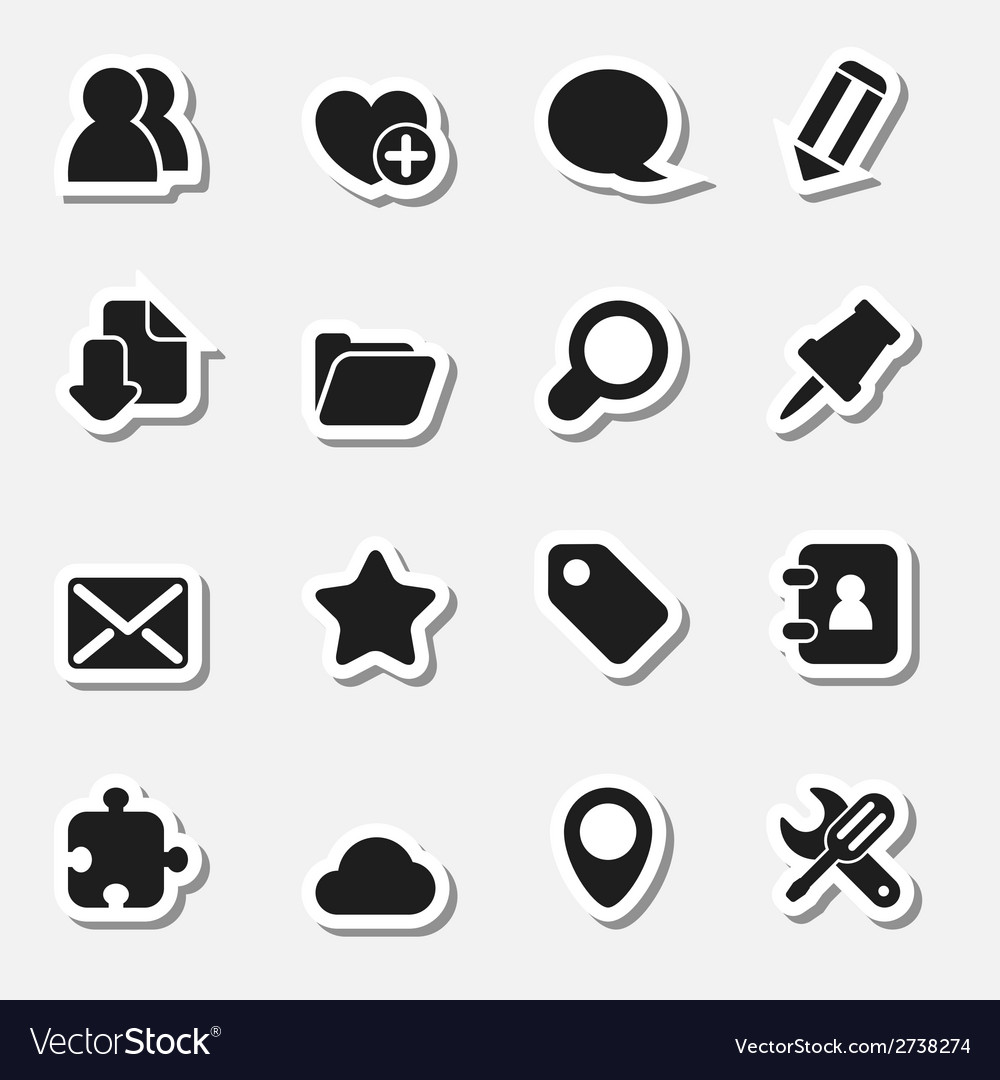 Internet icons set as labels vector | Price: 1 Credit (USD $1)