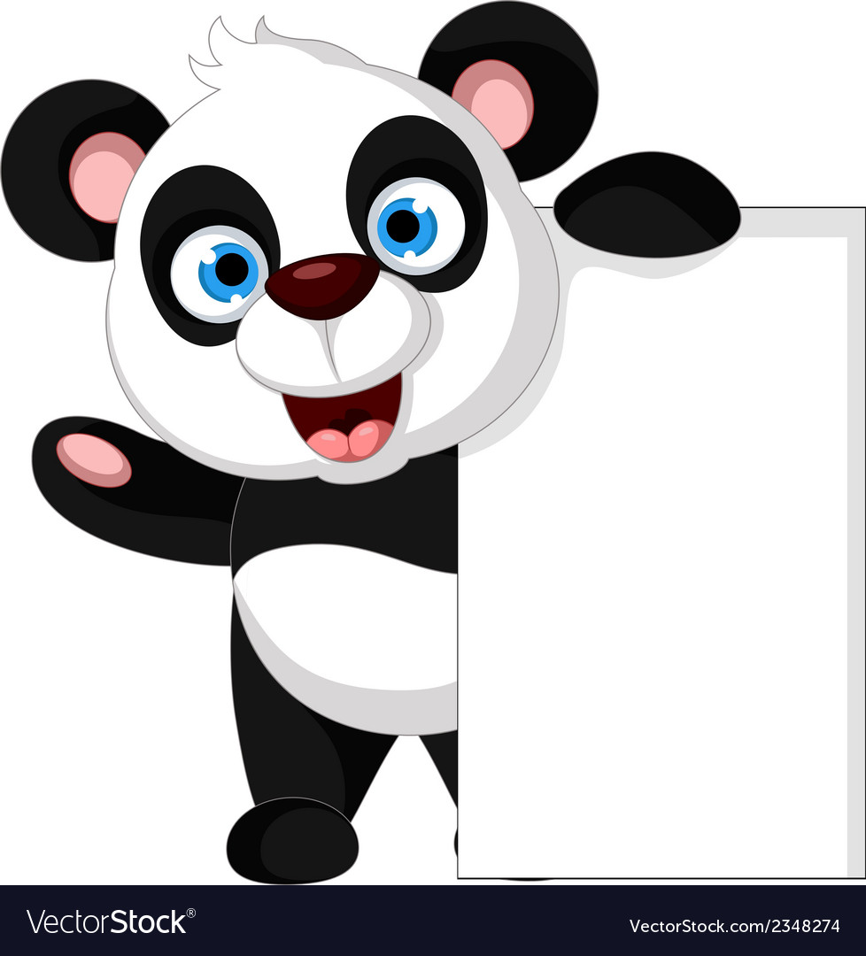 Panda cartoon holding blank sign vector | Price: 1 Credit (USD $1)