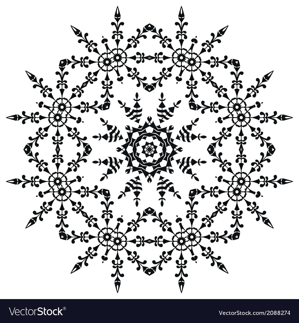 Pattern of snowflakes contours vector | Price: 1 Credit (USD $1)