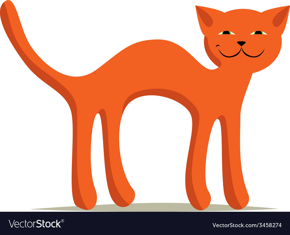 Red comic arched smiling cat on white background vector | Price: 1 Credit (USD $1)