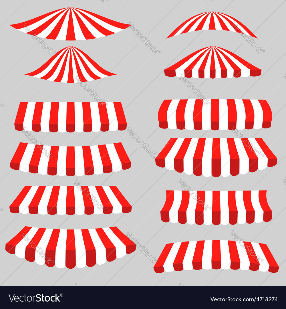 Set of red white tents vector | Price: 1 Credit (USD $1)