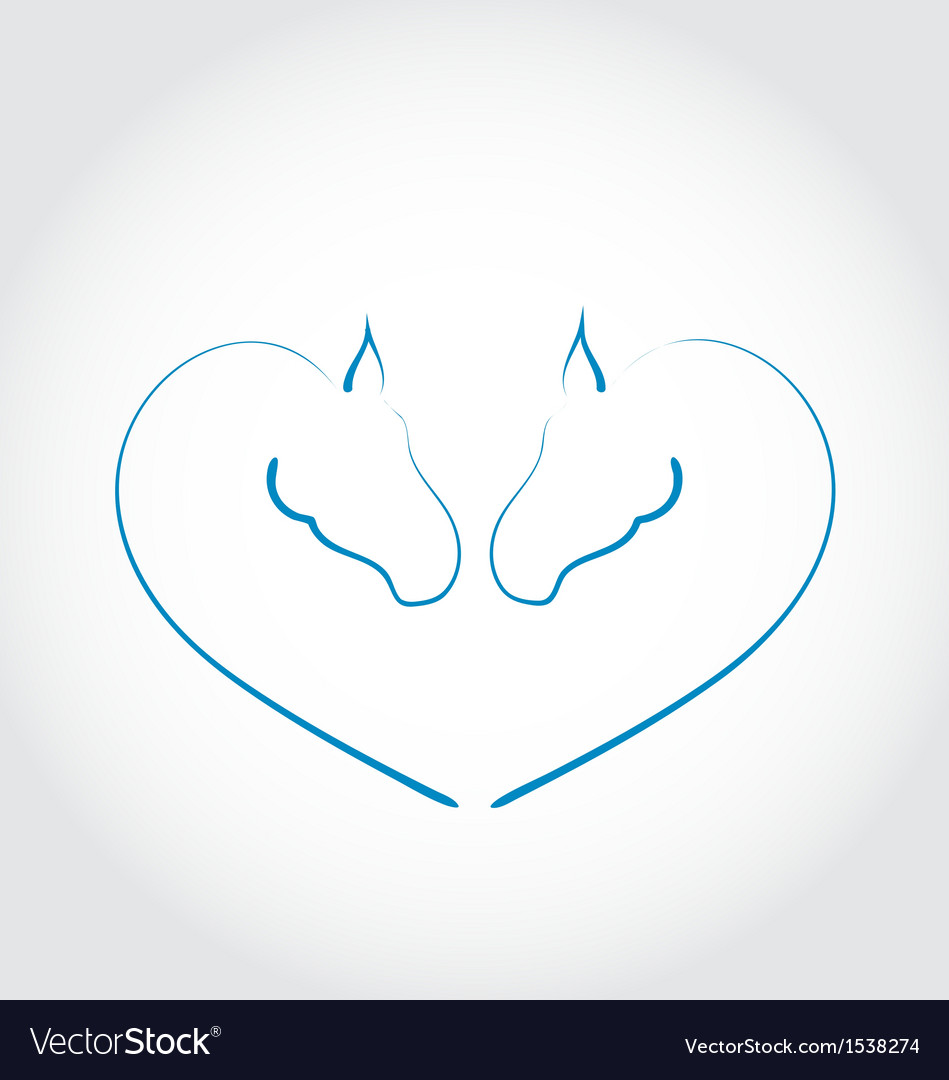 Two horses stylized heart shape vector | Price: 1 Credit (USD $1)