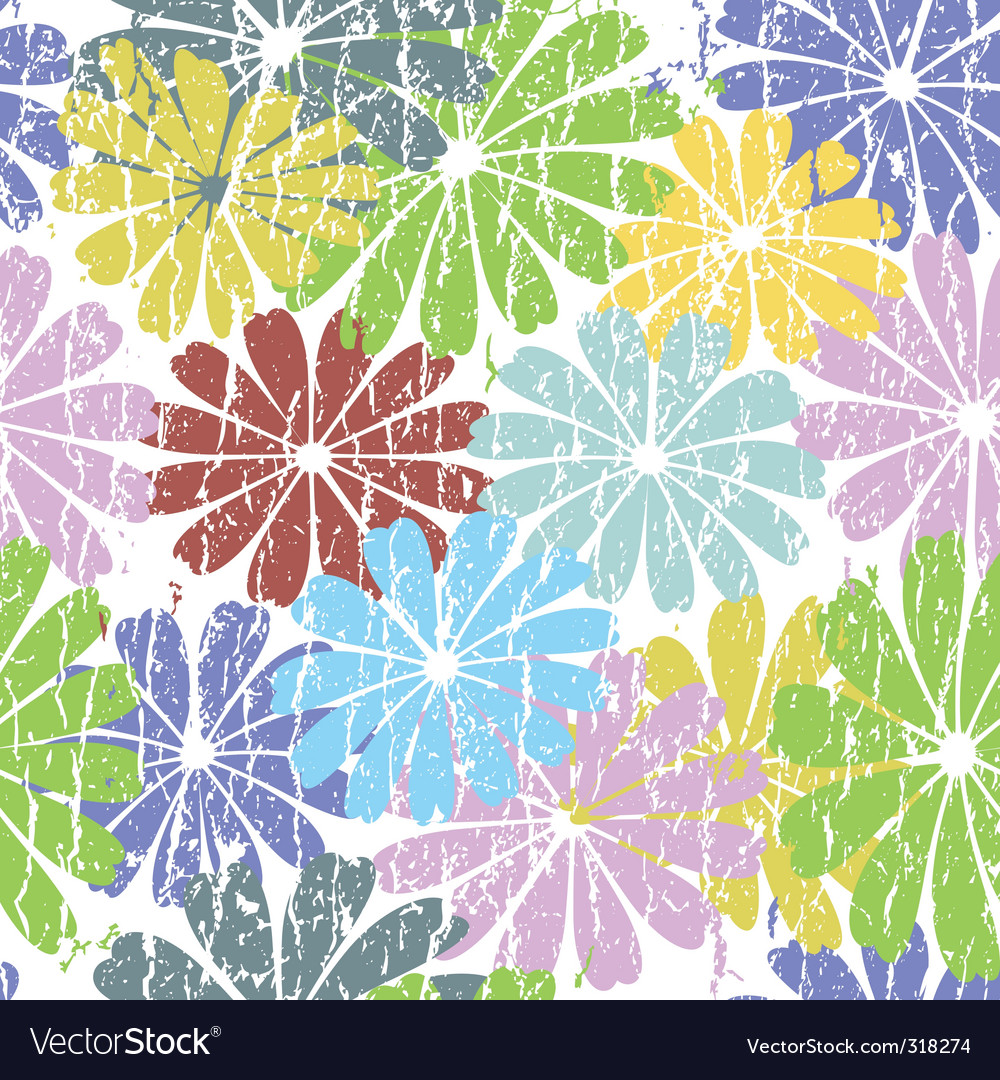 White seamless grunge floral pattern vector | Price: 1 Credit (USD $1)