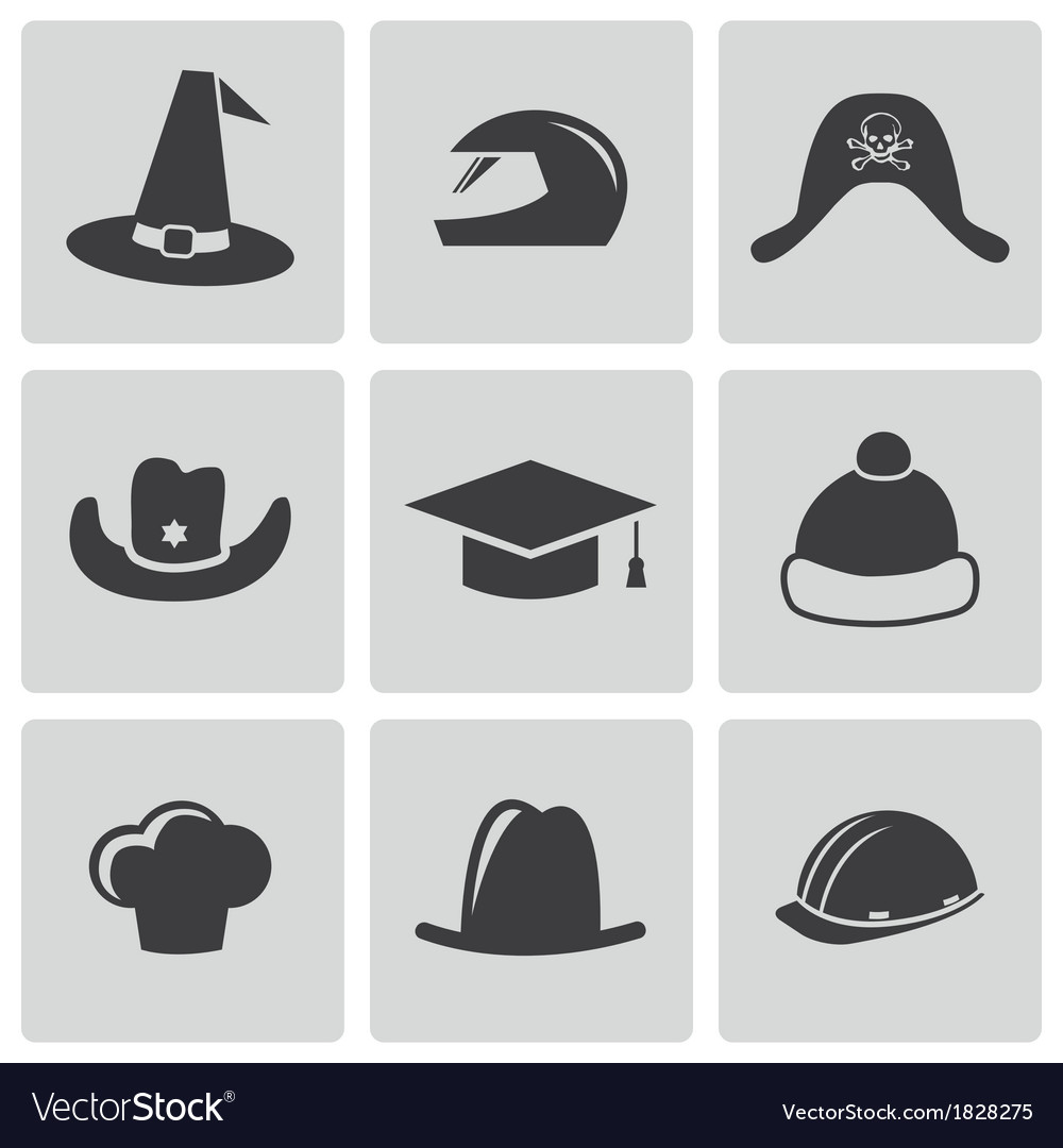 Black helmet and hat icons set vector | Price: 1 Credit (USD $1)