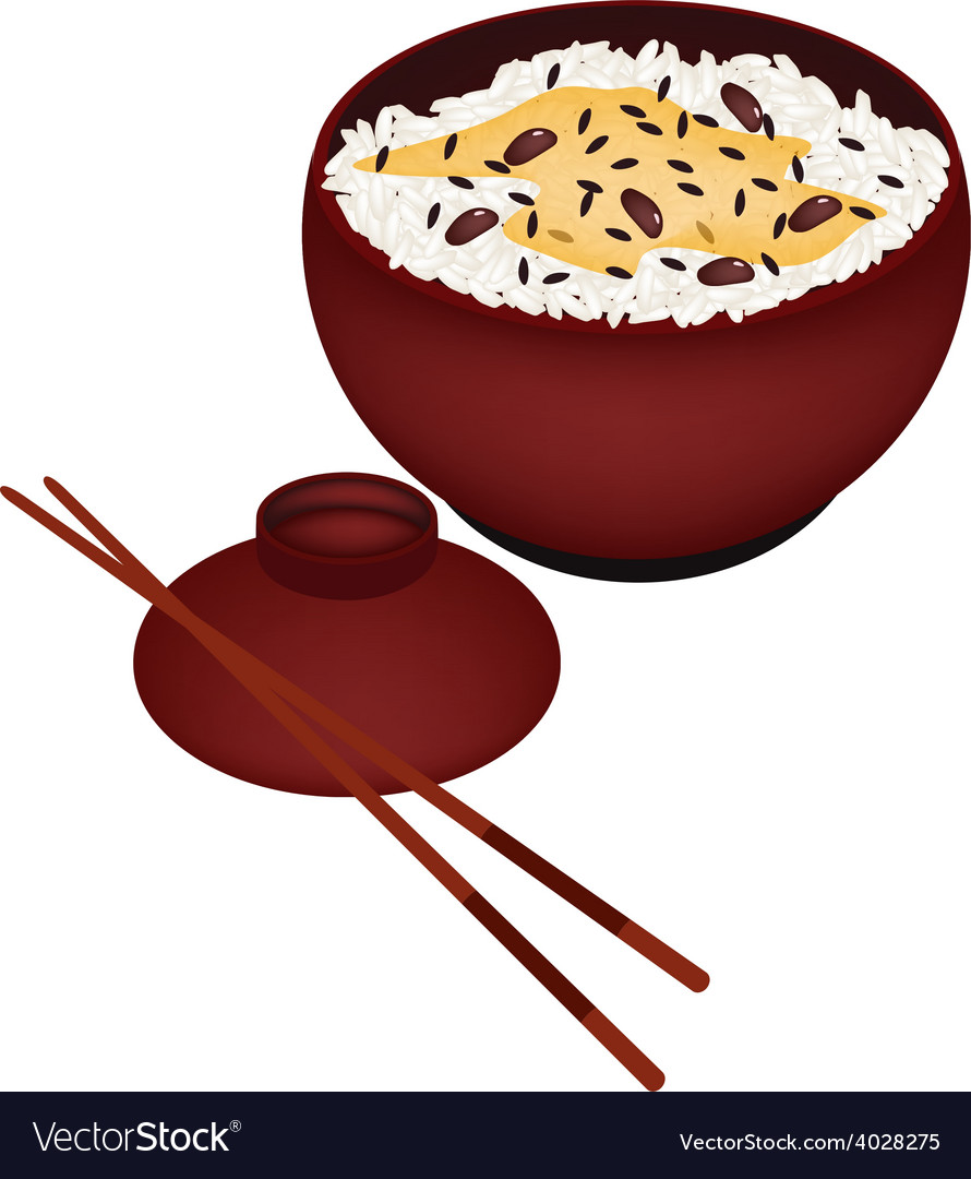 Bowl of rice boiled with red beans vector | Price: 1 Credit (USD $1)