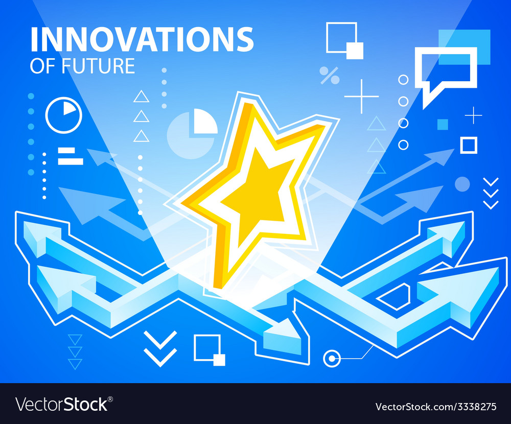 Bright arrows and star on blue background fo vector | Price: 3 Credit (USD $3)