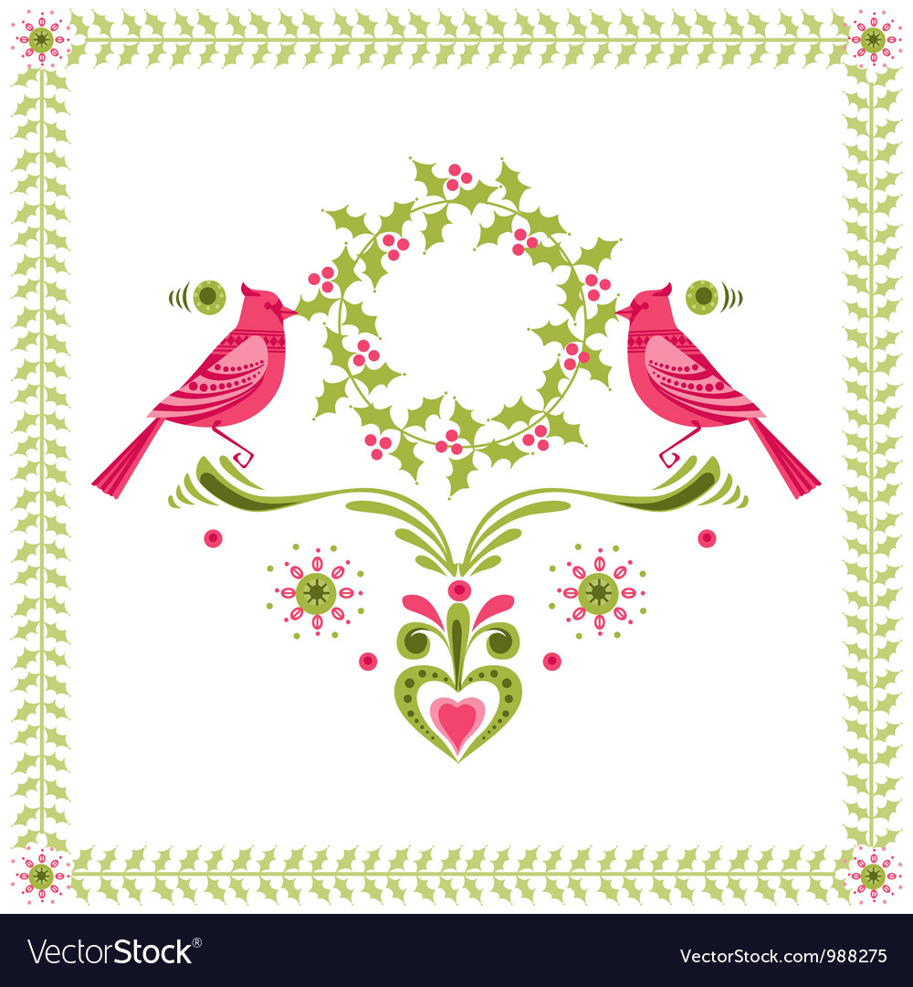 Christmas card - birds with christmas wreath vector | Price: 1 Credit (USD $1)