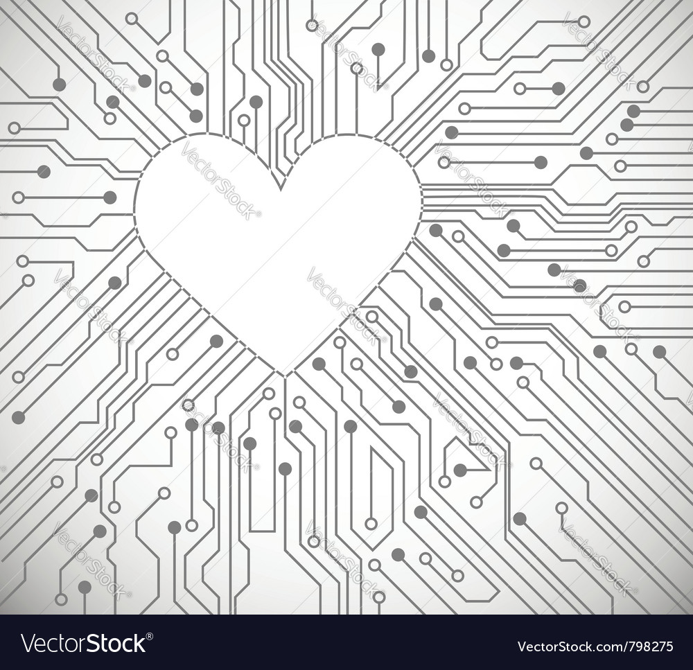 Circuit board heart vector | Price: 1 Credit (USD $1)
