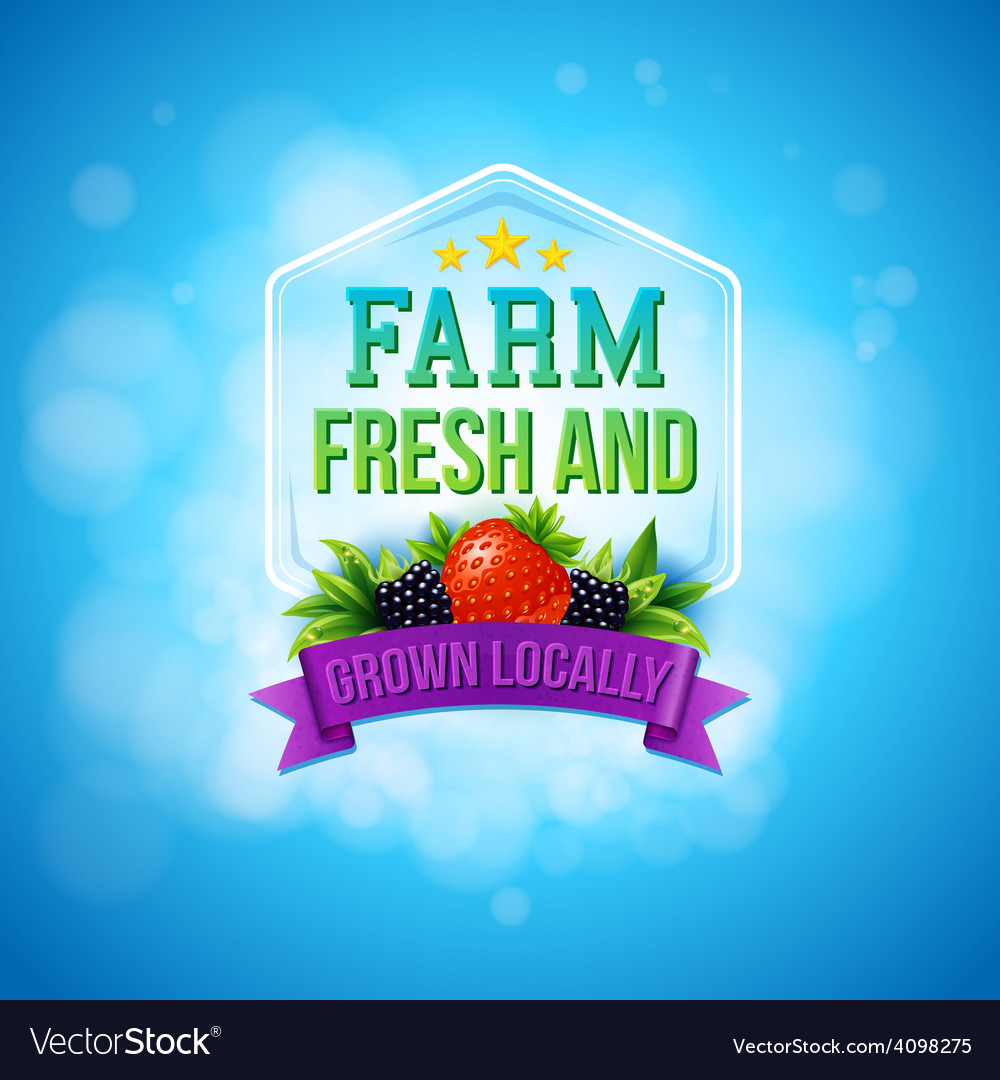 Colorful poster design for farm fresh produce vector | Price: 3 Credit (USD $3)