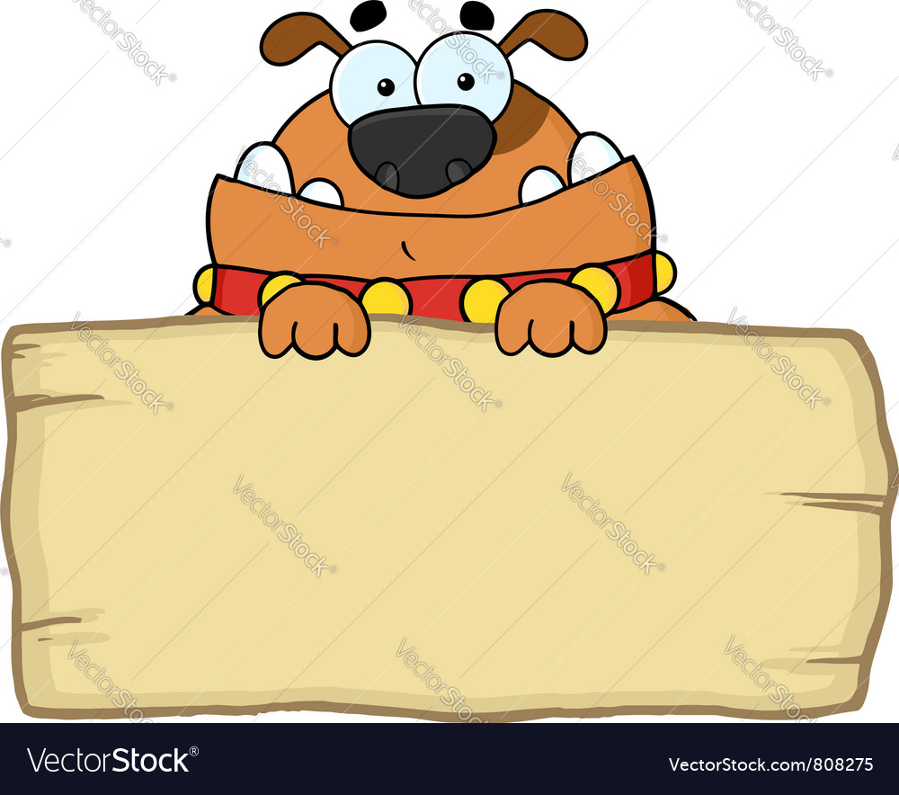 Cute dog over a blank wood sign vector | Price: 1 Credit (USD $1)