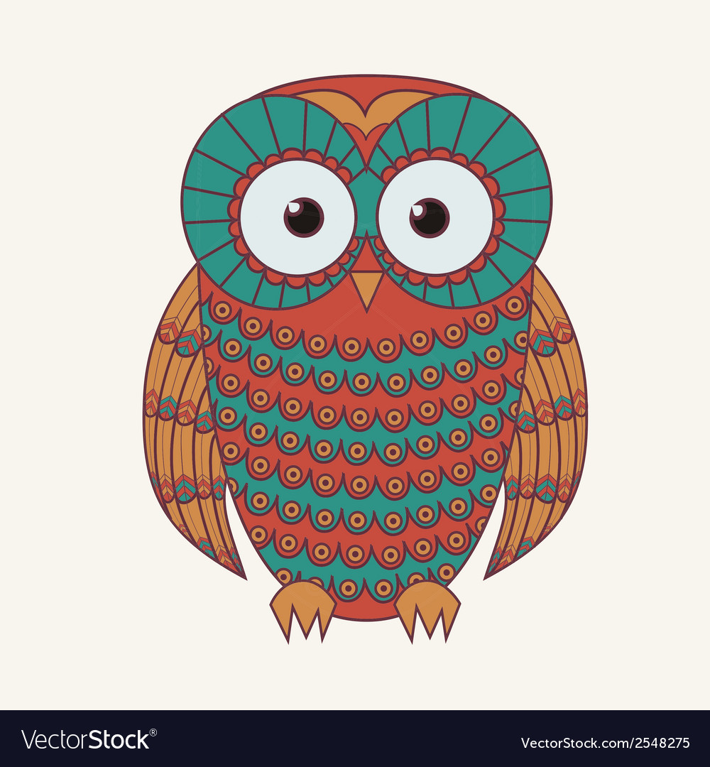 Decorative cute owl vector | Price: 1 Credit (USD $1)