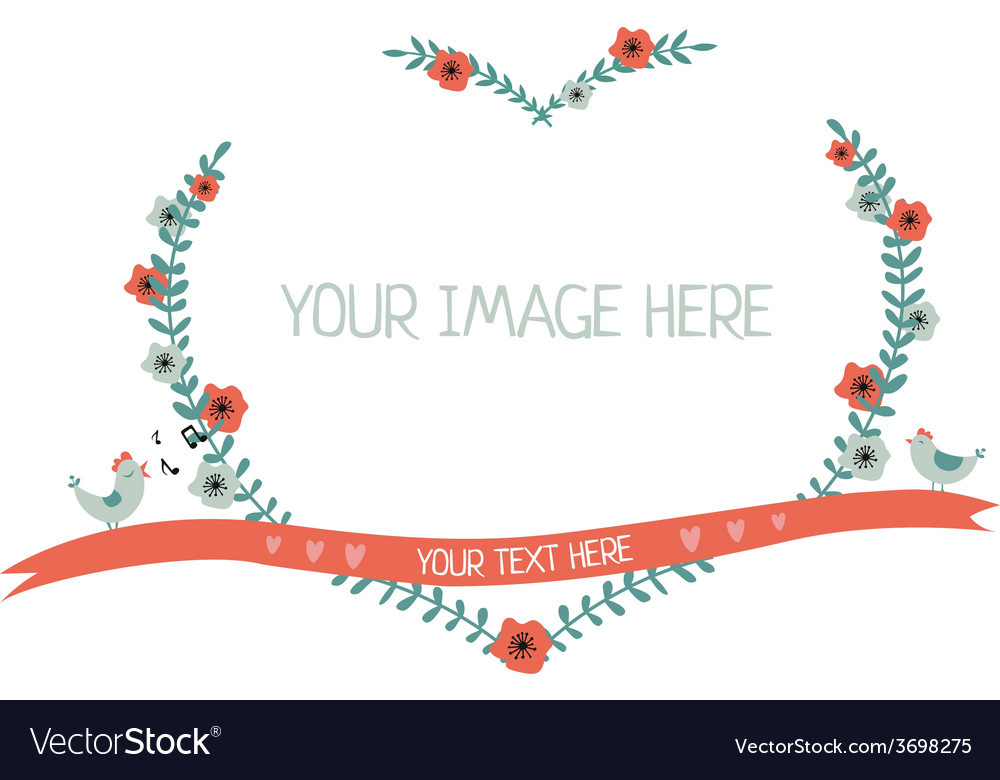 Floral greeting frame heart shape isolated vector | Price: 1 Credit (USD $1)