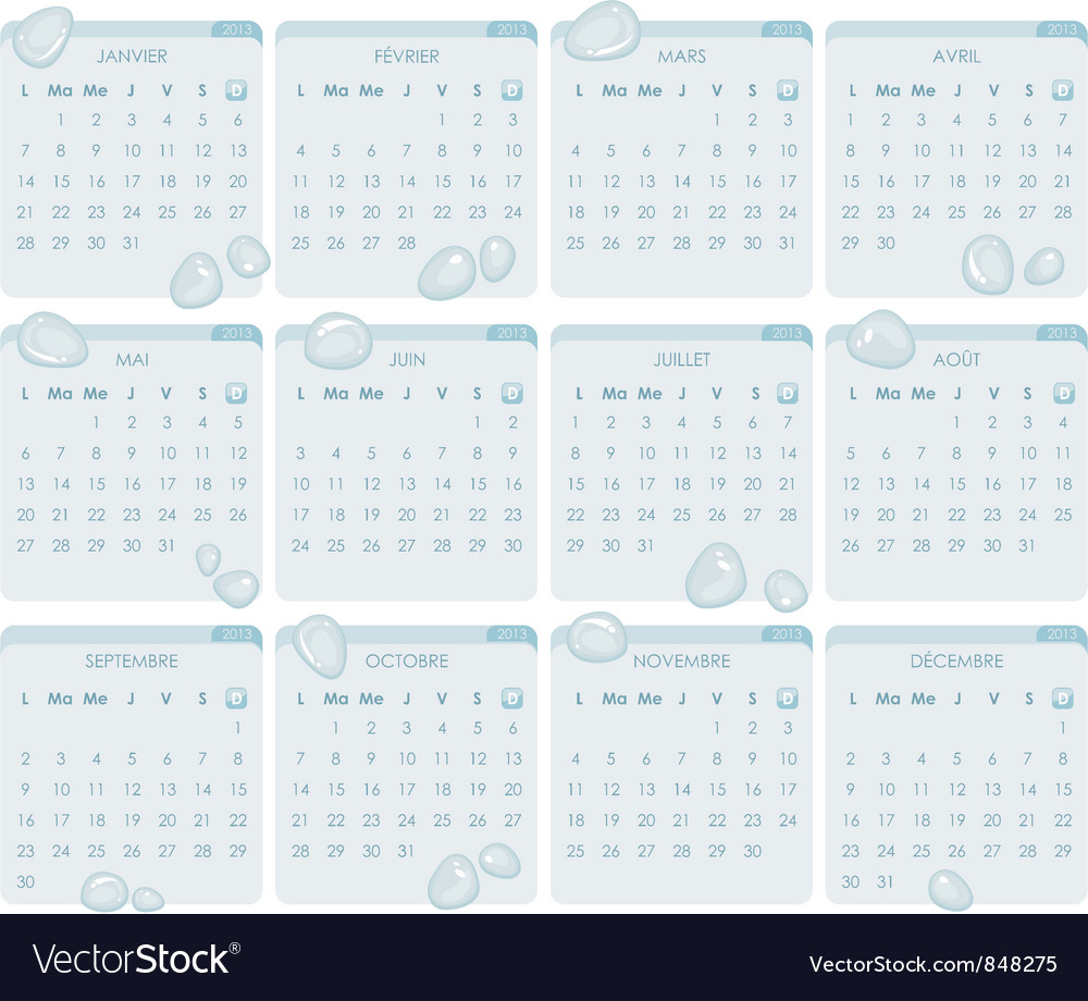 French calendar 2013 vector | Price: 1 Credit (USD $1)